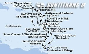 Martinique, Guadeloupe, Virgin Islands (British), St. Maarten, Dominica, Saint Kitts and Nevis, Antigua and Barbuda, Saint Lucia, Barbados, Trinidad and Tobago, Grenada, Saint Vincent & The Grenadines