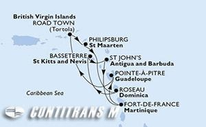Guadeloupe, Virgin Islands (British), St. Maarten, Dominica, Saint Kitts and Nevis, Antigua and Barbuda, Martinique
