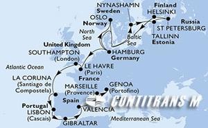 Germany, Norway, Sweden, Estonia, Russian Federation, Finland, France, United Kingdom, Spain, Portugal, Gibraltar, Italy