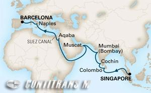 World Cruise Singapore - Barcelona on Amsterdam