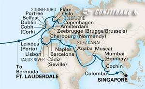 World Cruise Singapore - Fort Lauderdale on Amsterdam