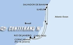 Rio de Janeiro, Cabo Frio, Copacabana, Salvador, Ilheus, Rio de Janeiro
