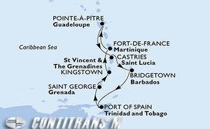 Martinique, Guadeloupe, Saint Lucia, Barbados, Trinidad and Tobago, Grenada, Saint Vincent & The Grenadines