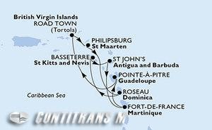 Martinique, Guadeloupe, Virgin Islands (British), St. Maarten, Dominica, Saint Kitts and Nevis, Antigua and Barbuda
