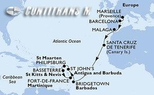 France, Spain, Barbados, Antigua and Barbuda, St. Maarten, Saint Kitts and Nevis, Martinique