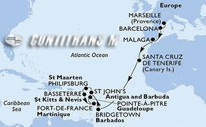 France, Spain, Barbados, Antigua and Barbuda, St. Maarten, Saint Kitts and Nevis, Martinique, Guadeloupe