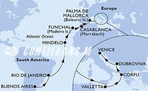 Argentina, Brazil, Cape Verde, Portugal, Morocco, Spain, Malta, Greece, Croatia, Italy