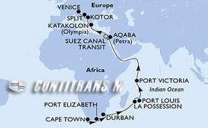 South Africa, Reunion, Mauritius, Seychelles, Jordan, Egypt, Greece, Montenegro, Croatia, Italy