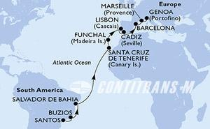 Brazil, Spain, Portugal, France, Italy