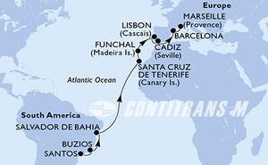 Brazil, Spain, Portugal, France