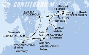 Denmark, Germany, Poland, Lithuania, Latvia, Estonia, Russian Federation, Finland, Sweden