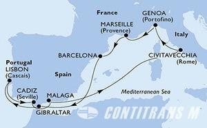 Italy, France, Spain, Gibraltar, Portugal