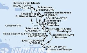 Martinique, Guadeloupe, Virgin Islands (British), Netherlands Antilles, Dominica, Saint Kitts and Nevis, Antigua and Barbuda, Saint Lucia, Barbados, Trinidad and Tobago, Grenada, Saint Vincent & The Grenadines
