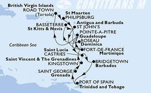 Guadeloupe, Virgin Islands (British), Netherlands Antilles, Dominica, Saint Kitts and Nevis, Antigua and Barbuda, Martinique, Saint Lucia, Barbados, Trinidad and Tobago, Grenada, Saint Vincent & The Grenadines