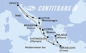 Venice,Brindisi,Katakolon,Heraklion,Piraeus,Corfu,Kotor,Venice