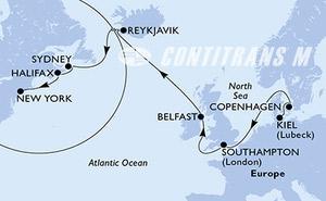 Kiel,Copenhagen,Southampton,Belfast,Reykjavik,Reykjavik,Sydney,Halifax,New York,New York