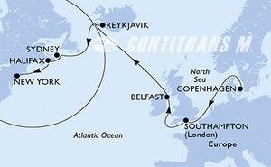 Copenhagen,Southampton,Belfast,Reykjavik,Reykjavik,Sydney,Halifax,New York,New York