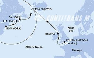 Southampton,Belfast,Reykjavik,Reykjavik,Sydney,Halifax,New York,New York