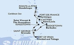 Fort de France,Pointe-a-Pitre,Castries,Bridgetown,Saint George,Port of Spain,Kingstown,Fort de France