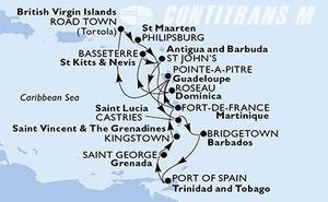 Guadeloupe, Virgin Islands (British), St. Maarten, Dominica, Saint Kitts and Nevis, Antigua and Barbuda, Martinique, Saint Lucia, Barbados, Trinidad and Tobago, Grenada, Saint Vincent & The Grenadines