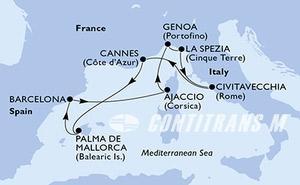 Barcelona,Ajaccio,Genoa,La Spezia,Civitavecchia,Cannes,Palma de Mallorca,Barcelona