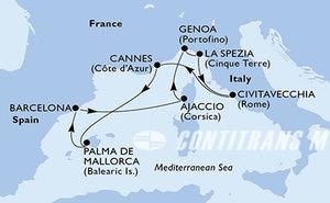 Genoa,La Spezia,Civitavecchia,Cannes,Palma de Mallorca,Barcelona,Ajaccio,Genoa