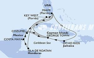 Miami,Isla de Roatan,Costa Maya,Cozumel,George Town,Miami,Ocho Rios,George Town,Cozumel,Key West,Miami