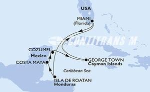 Miami,Isla de Roatan,Costa Maya,Cozumel,George Town,Miami