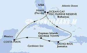 Miami,Ocho Rios,George Town,Costa Maya,Ocean Cay,Miami
