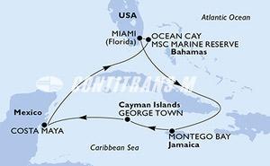 Miami,Montego Bay,George Town,Costa Maya,Ocean Cay,Miami