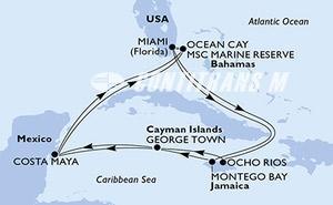 Miami,Montego Bay,George Town,Costa Maya,Ocean Cay,Miami,Ocho Rios,George Town,Costa Maya,Ocean Cay,Miami