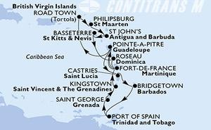 Fort de France,Pointe-a-Pitre,Castries,Bridgetown,Port of Spain,Saint George,Kingstown,Fort de France,Pointe-a-Pitre,Road Town,Philipsburg,St John s,Basseterre,Roseau,Fort de France