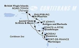 Fort de France,Pointe-a-Pitre,Road Town,Philipsburg,St John s,Basseterre,Roseau,Fort de France