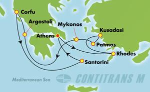от Пирея - Миконос, Санторини, Корфу, Кефалония, Родос, Патмос и Кушадасъ