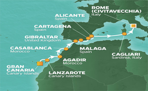 JR 11-NIGHT CANARY ISLANDS TO ROME VOYAGE